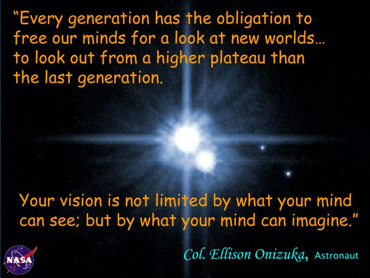 """Every generation has the obligation to"