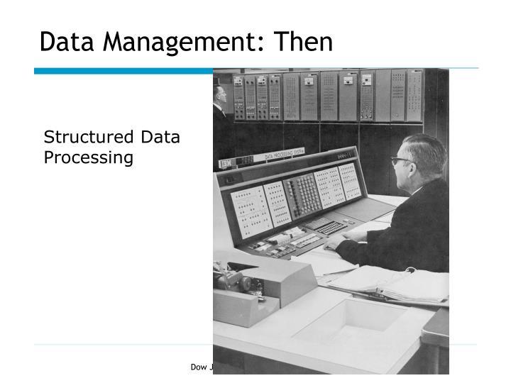 Data Management: Then