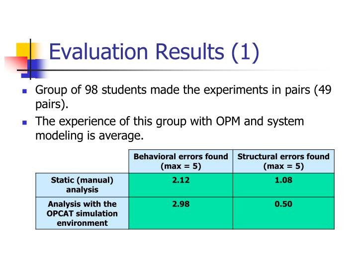 Evaluation Results (1)