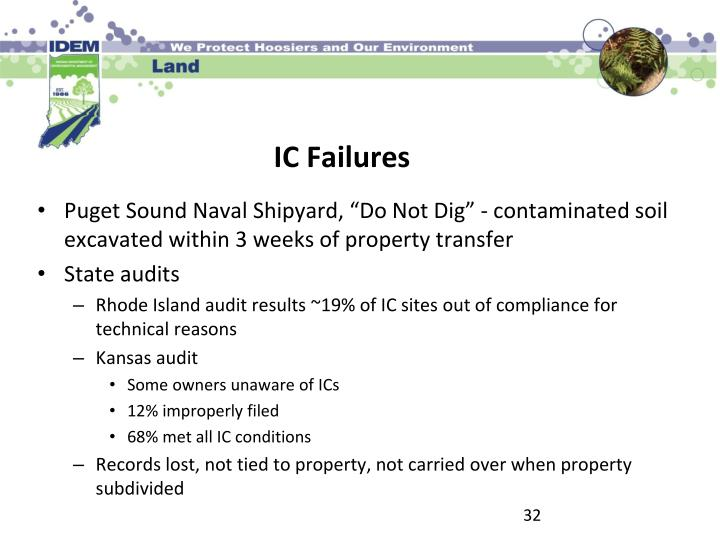 "Puget Sound Naval Shipyard, ""Do Not Dig"" - contaminated soil excavated within 3 weeks of property transfer"