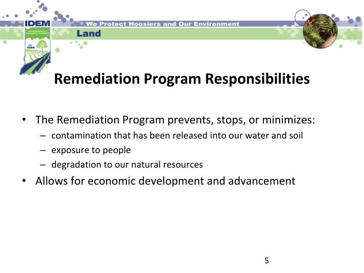 The Remediation Program prevents, stops, or minimizes: