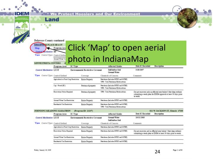 Click 'Map' to open aerial photo in IndianaMap