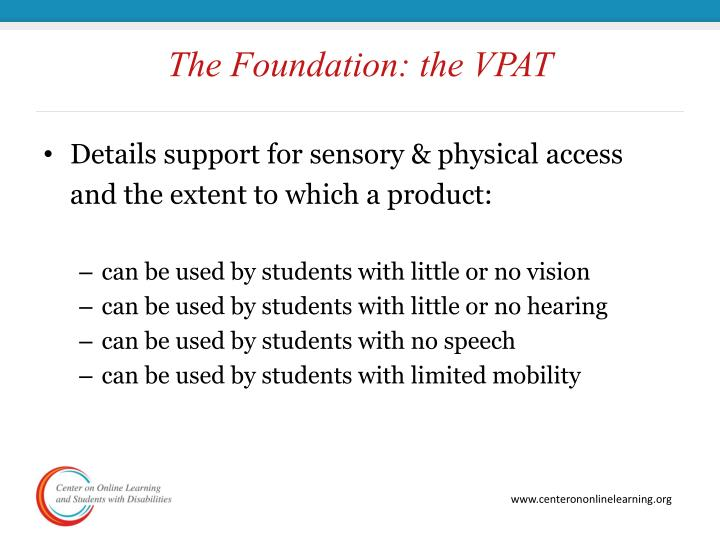 The Foundation: the VPAT