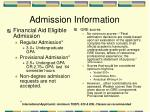admission information