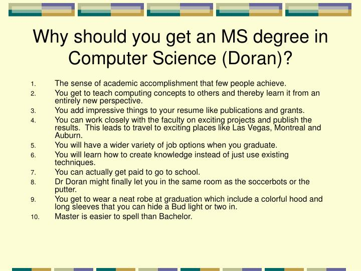 Why should you get an ms degree in computer science doran