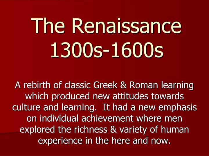 thesis statement renaissance era Thesis statement for renaissance architecture free renaissance essays and papersfree renaissance papers, essays, and research papers the influence of renaissance in art and architecture – the influences of any era is evident through sample papers from yasmine aly in hss 211history of renaissance art.