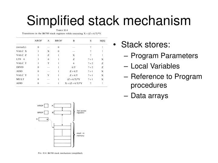 Simplified stack mechanism