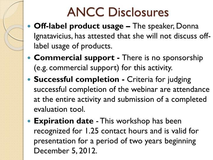 ANCC Disclosures