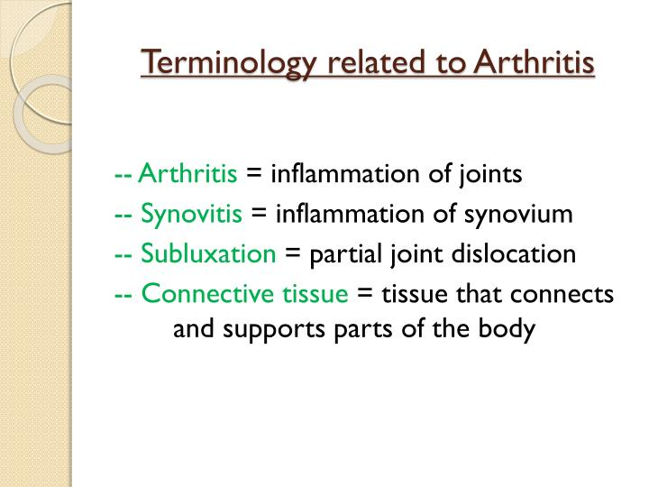 Terminology related to Arthritis
