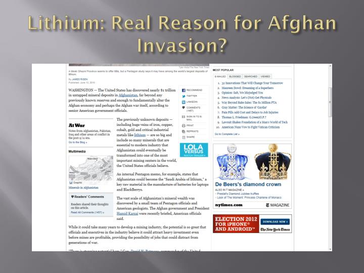 Lithium: Real Reason for Afghan Invasion?