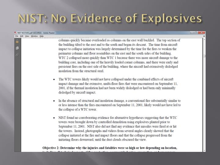 NIST: No Evidence of Explosives