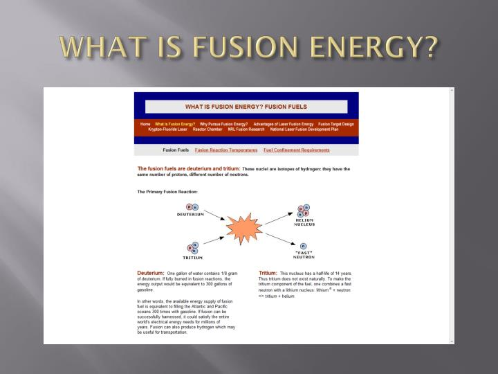 WHAT IS FUSION ENERGY?