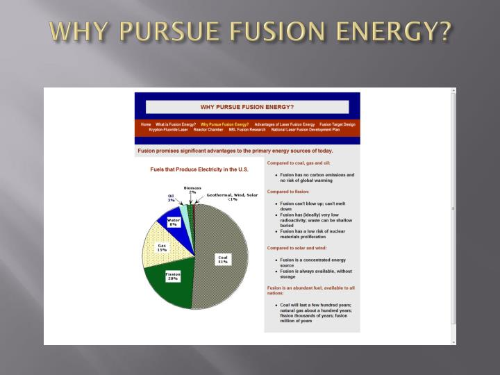 WHY PURSUE FUSION ENERGY?