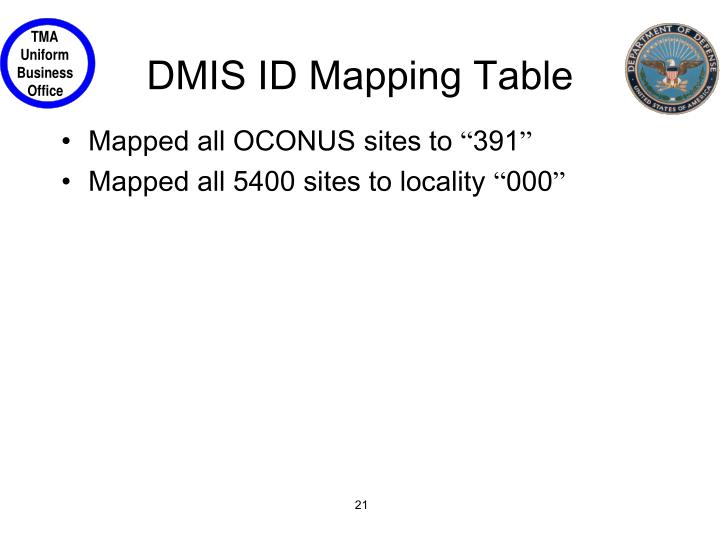 DMIS ID Mapping Table