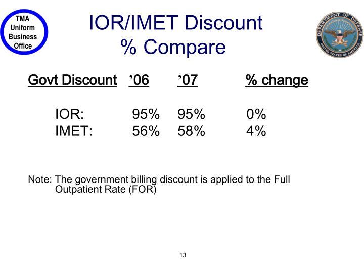 IOR/IMET Discount