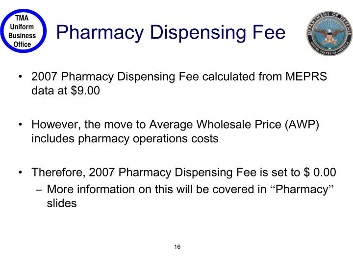 Pharmacy Dispensing Fee