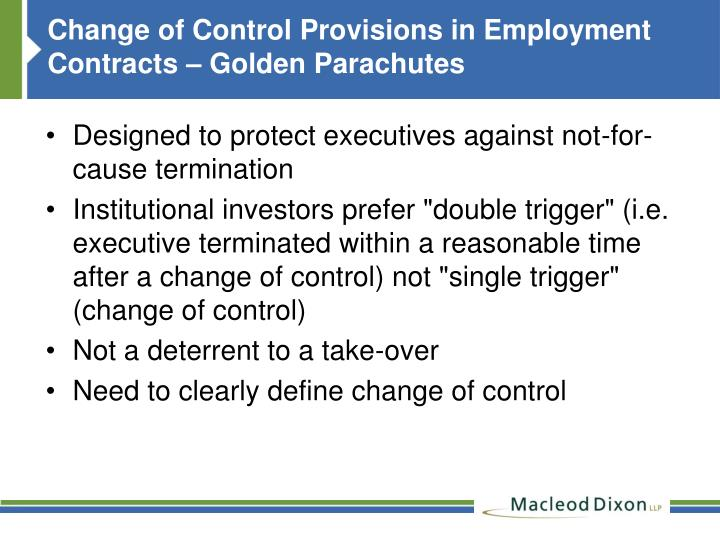 Change of Control Provisions in Employment Contracts – Golden Parachutes