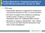 hudbay minerals inc proposed acquisition of lundin mining corporation january 23 2009