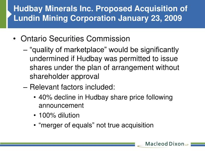 Hudbay Minerals Inc. Proposed Acquisition of Lundin Mining Corporation January 23, 2009