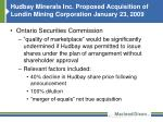 hudbay minerals inc proposed acquisition of lundin mining corporation january 23 20091