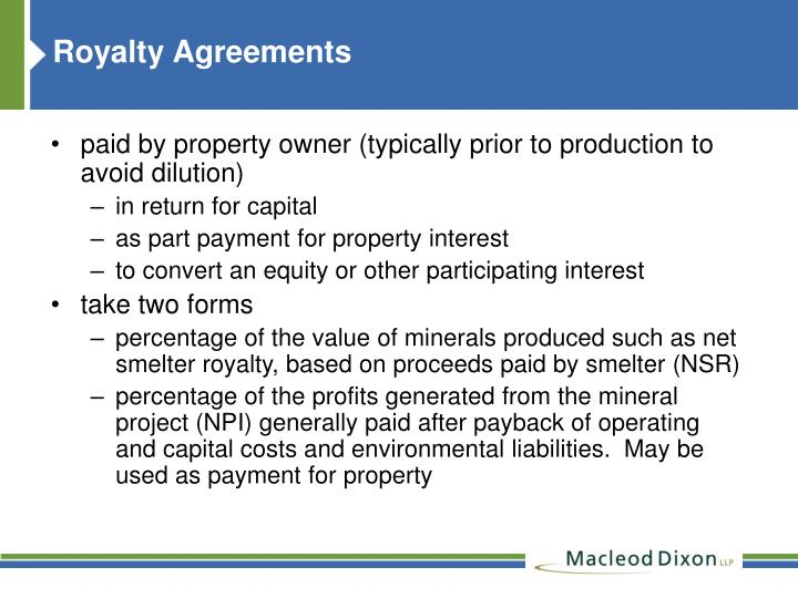Royalty Agreements
