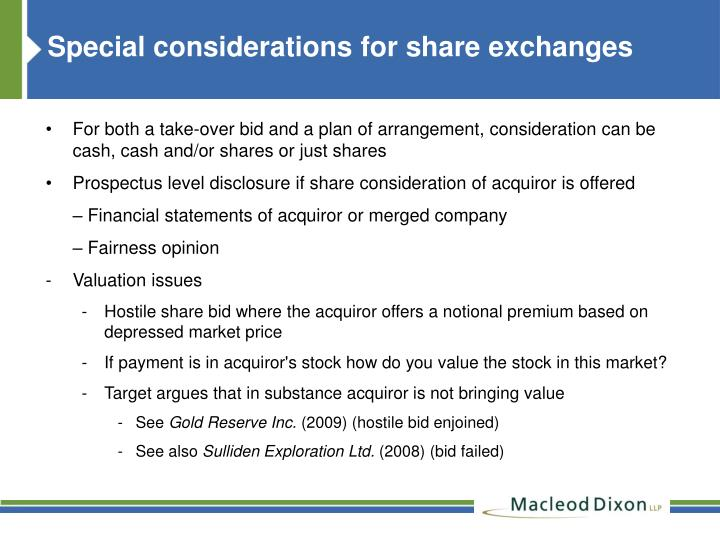 Special considerations for share exchanges