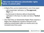 take over bid defenses shareholder rights plans or poison pills