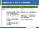 take over bid vs plan of arrangement