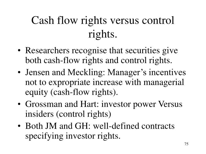 Cash flow rights versus control rights.