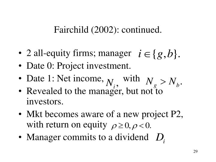 Fairchild (2002): continued.