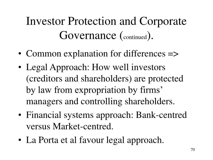 Investor Protection and Corporate Governance (