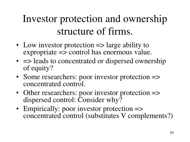 Investor protection and ownership structure of firms.