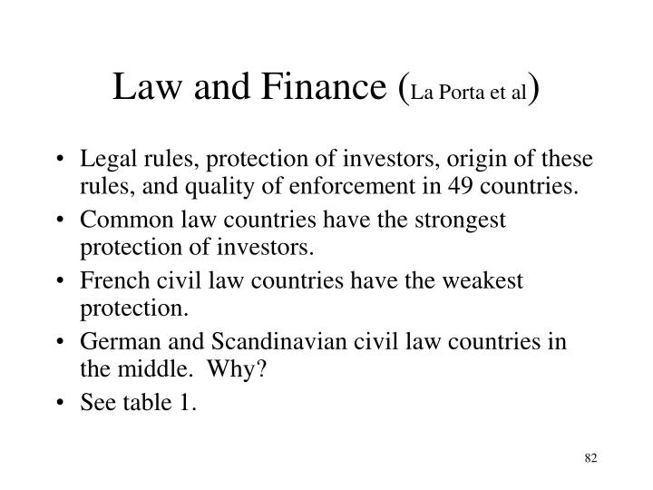 Law and Finance (