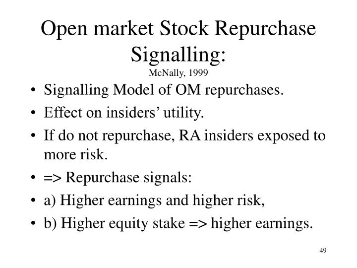 Open market Stock Repurchase Signalling:
