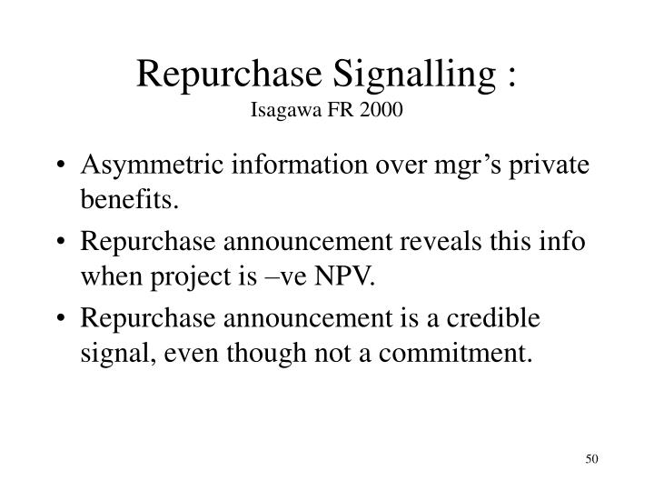 Repurchase Signalling :