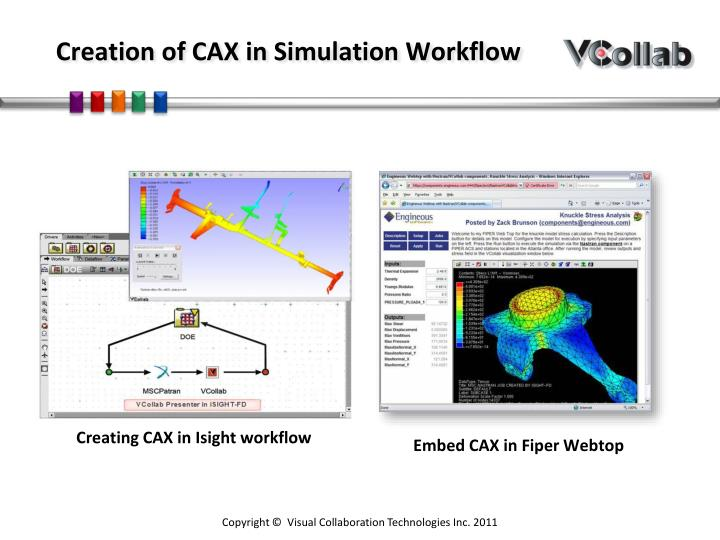 Creation of cax in simulation workflow