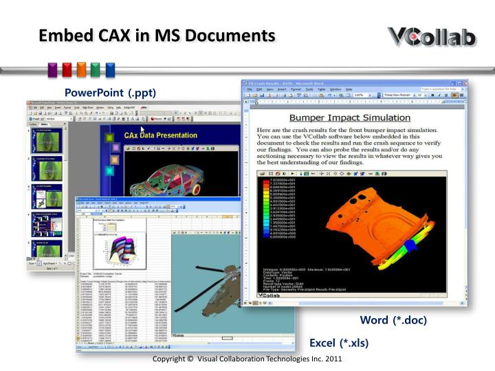 Embed CAX in MS Documents