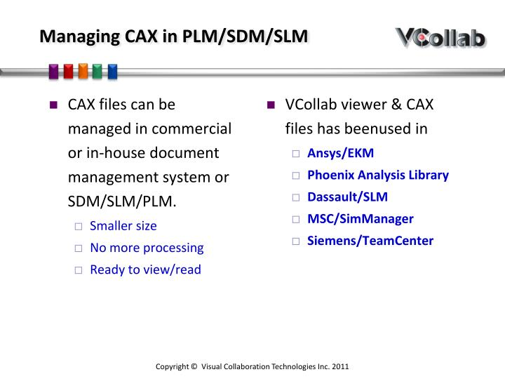Managing CAX in PLM/SDM/SLM