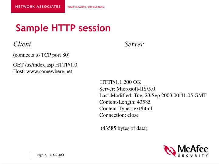Sample HTTP session