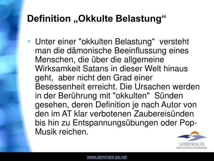 "Definition ""Okkulte Belastung"""
