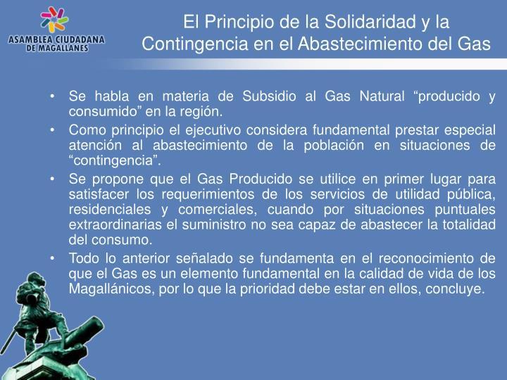 El Principio de la Solidaridad y la Contingencia en el Abastecimiento del Gas