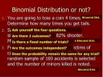binomial distribution or not