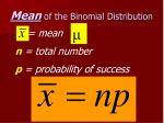 mean of the binomial distribution