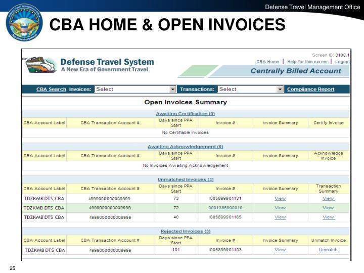 CBA HOME & OPEN INVOICES