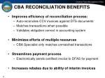 cba reconciliation benefits