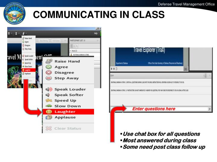 COMMUNICATING IN CLASS