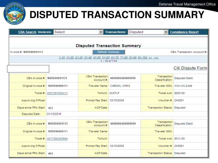 DISPUTED TRANSACTION SUMMARY
