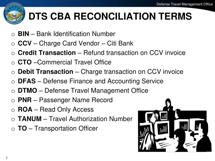 DTS CBA RECONCILIATION TERMS