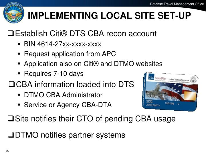 IMPLEMENTING LOCAL SITE SET-UP