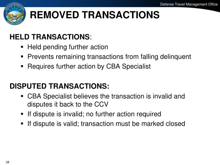REMOVED TRANSACTIONS